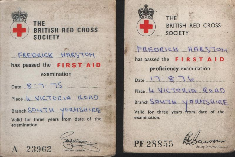 My Red Cross certificates 1975 & 1976
